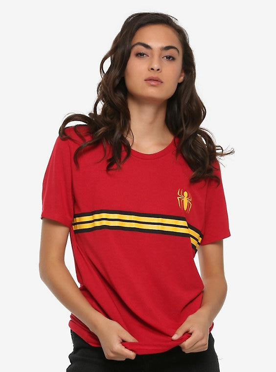 Buy Marvel Spider-Man Red Striped Logo Womens T-Shirt – BoxLunch Exclusive on PriceBreaks.com